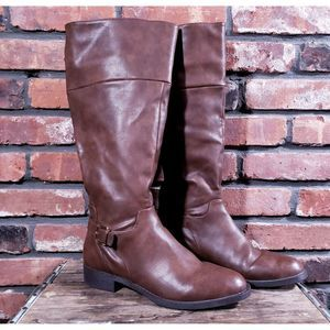 Forever 21 Brown Faux Leather Tall Riding Boots